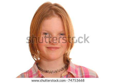 Portrait of a young blond girl isolated on white background - stock photo