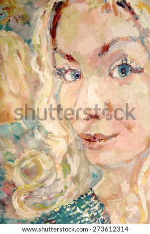 Portrait of a young blond looking happy with a light smile, vertical hand painted artwork in color