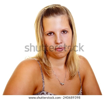 Portrait of a young blond woman on white background, studio shot.  - stock photo