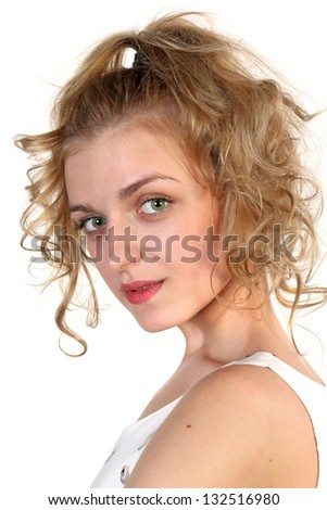 Portrait of a young blonde attractive girl  isolated over white background - stock photo