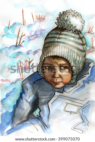 Portrait of a young boy. Baby boy sitting in snow. Winter scene. Watercolor illustration - stock photo