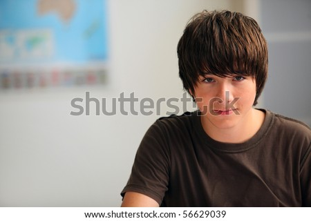 Portrait of a young boy in a classroom - stock photo
