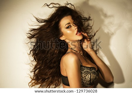 Portrait of a young brunette beauty - stock photo