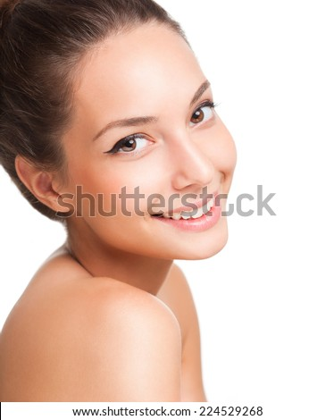 Portrait of a young brunette cosmetics beauty. - stock photo
