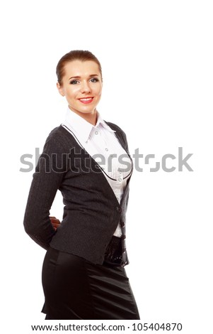 Portrait of a young business lady standing against white background - stock photo