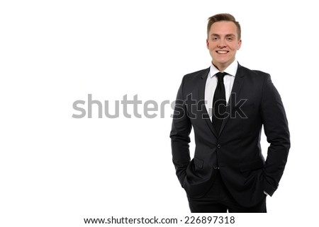 Portrait of a young business man isolated on white background.