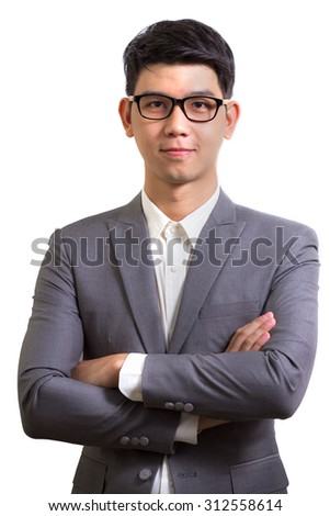 Portrait of a young business man, isolated on white background - stock photo