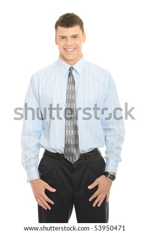 Portrait of a young business man isolated on white background - stock photo