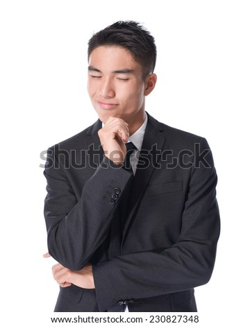 Portrait of a young business man looking depressed from work isolated over white background