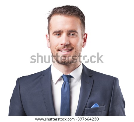 Portrait of a young business man smiling, isolated on white background