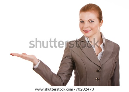 Portrait of a young business woman holding something in hand