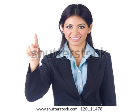 Portrait of a young business  woman  pointing finger on white isolated - stock photo
