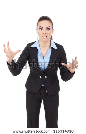 portrait of a young business woman scaring you - stock photo