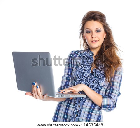Portrait of a young business woman standing with notebook against white background - stock photo