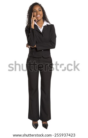 Portrait of a young business woman thinking on isolated white background