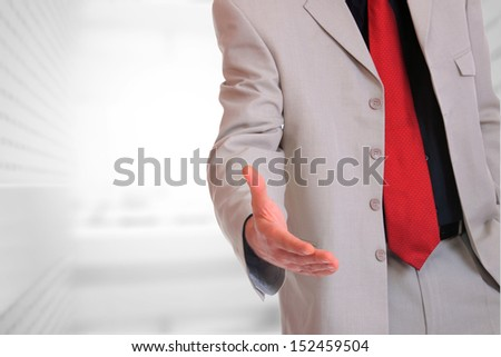 Portrait of a  young businessman handshake - stock photo