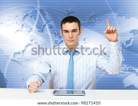 Portrait of a young businessman making presentation - stock photo
