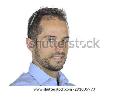 portrait of a young businessman on white background