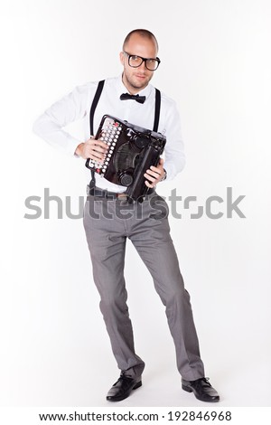 Portrait of a young businessman with a typewriter  - stock photo