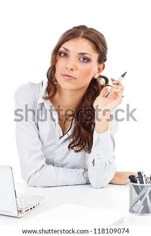 Portrait of a young businesswoman isolated on white - stock photo