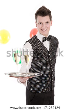 Portrait of a young butler or servant with glasses of champagne
