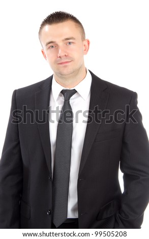 Portrait of a young casual business man standing against white background - stock photo