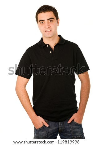Portrait of a young casual man portrait isolated on white background - stock photo