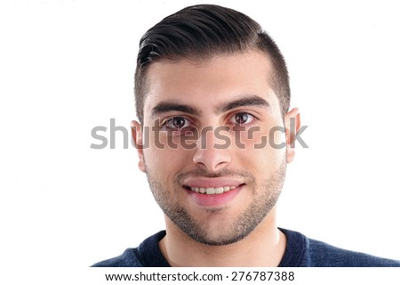 Portrait of a young cheerful man on white background  - stock photo