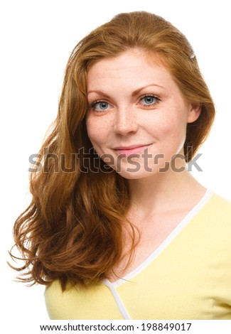 Portrait of a young cheerful woman, isolated over white