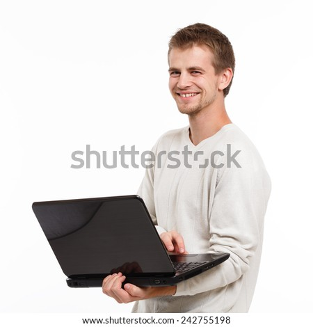 portrait of a young computer technician - stock photo
