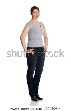 Portrait of a young confident woman, isolated on white background - stock photo