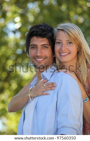 Portrait of a young couple - stock photo
