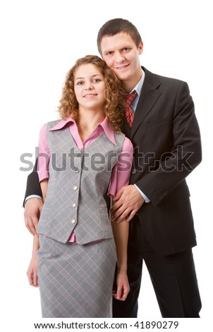 Portrait of a young couple isolated over white