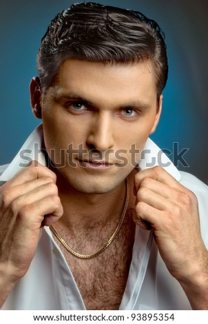 portrait of a young cute guy - stock photo