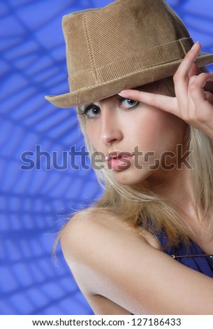 portrait of a young dancing girl with hat