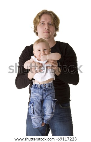 Portrait of a young father with little son