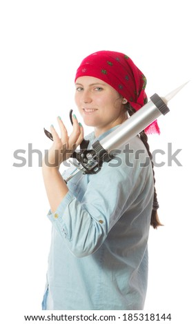 Portrait of a young girl in a red scarf and a denim shirt, she put the gun on his shoulder sealant - stock photo