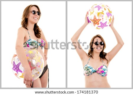 Portrait of a young girl in swimsuit and beachball - stock photo