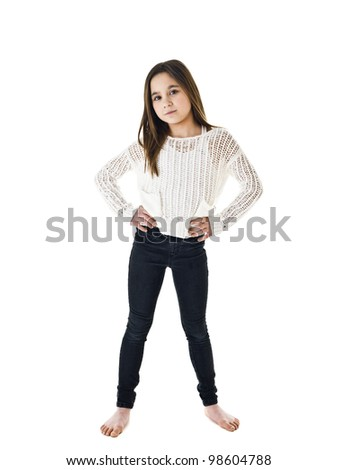 Portrait of a young girl isolated on white background