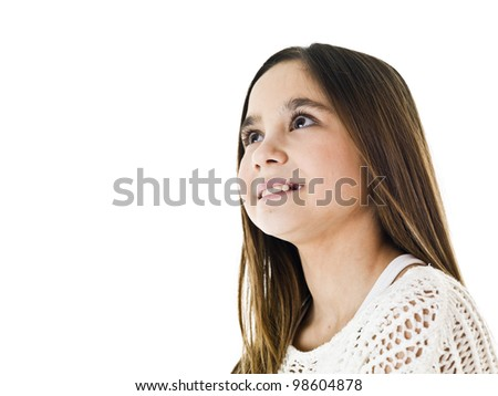 Portrait of a young girl isolated on white background - stock photo