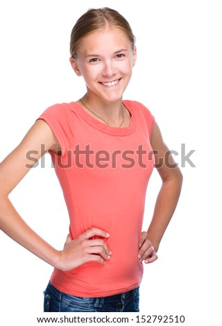 Portrait of a young girl, isolated over white - stock photo