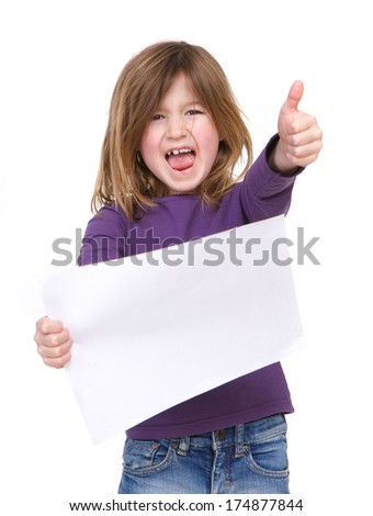 Portrait of a young girl laughing and holding blank poster sign with thumbs up  - stock photo