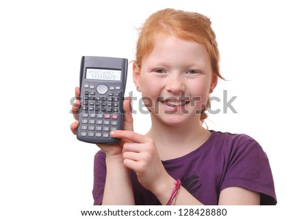 Portrait of a young girl student with calculator on white background - stock photo