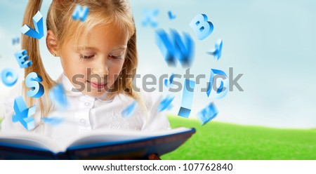 Portrait of a young girl studying. Different icons of lessons flying around her
