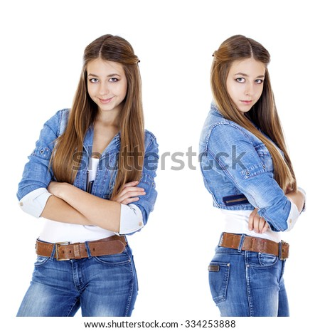 Portrait of a young girl teenager in blue jeans, isolated on white background - stock photo