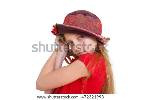 portrait of a young girl wearing colorful hat on white backgrounf