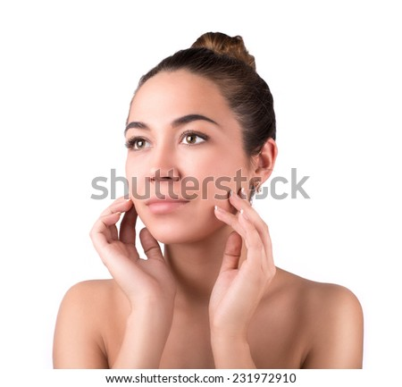 portrait of a young girl with a clean beautiful tanned skin - stock photo
