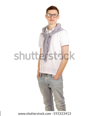 portrait of a young guy , isolated on white background
