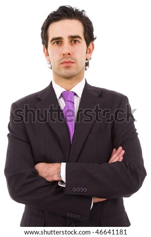 Portrait of a young handsome business man, isolated on white - stock photo