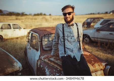 Vintage Car Cool Guy Looking Away Stock Photo Shutterstock - Cool young cars